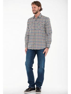 Рубашка Westrenger. Цвет: синий, зеленый