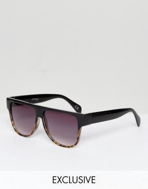 Jeepers Peepers Солнцезащитные очки-маска с прямым верхом и градиентными стеклами Jeep. Цвет: черный
