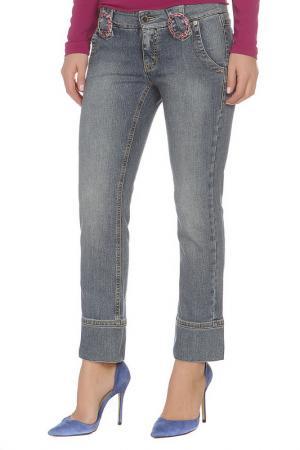 Капри джинсовые Roccobarocco. Цвет: голубой