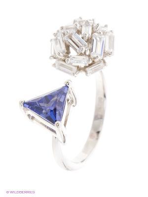Кольцо ELEMENT47 by JV. Цвет: серебристый, синий