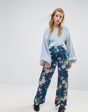 Pimkie Широкие брюки с цветочным принтом. Цвет: синий
