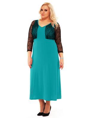 Платье SVESTA. Цвет: бирюзовый, черный