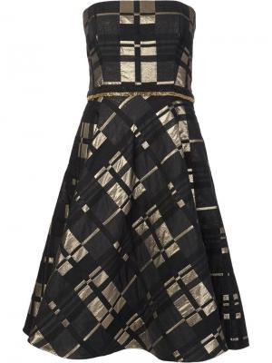 Расклешенное платье без бретелек Badgley Mischka. Цвет: чёрный