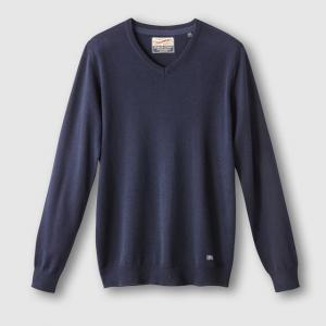 Пуловер с V-образным вырезом PETROL INDUSTRIES. Цвет: каштановый меланж,черный