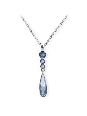 Кулон Josephine с кристаллами Swarovski цвета океанской воды Mademoiselle Jolie Paris. Цвет: темно-синий, голубой, лазурный, морская волна, светло-голубой, серебристый, серо-голубой, серый, синий, темно-серый