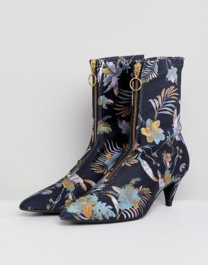 Gestuz Ботинки из ткани с пальмовым принтом. Цвет: мульти