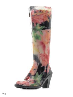 Резиновые сапоги ANRA. Цвет: черный, розовый
