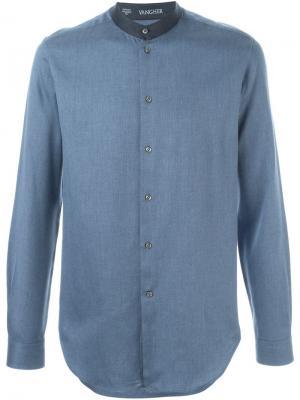 Рубашка с контрастным воротником-стойкой Vangher. Цвет: синий