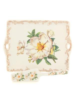 Поднос Белый шиповник Elan Gallery. Цвет: белый, зеленый
