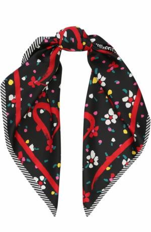 Шелковый шарф с принтом Marc Jacobs. Цвет: черный