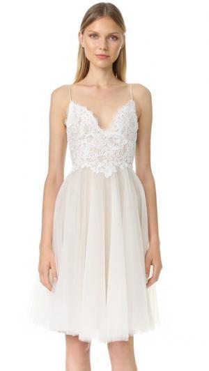 Платье Kylie с V-образным вырезом Monique Lhuillier. Цвет: белый шелк/телесный