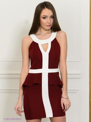 Платье Eunishop. Цвет: бордовый, белый