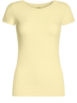 Футболка Oodji. Цвет: желтый, белый, черный