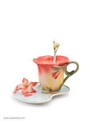 Чайная пара Дикая Роза Pavone. Цвет: коралловый, желтый, зеленый, голубой, красный