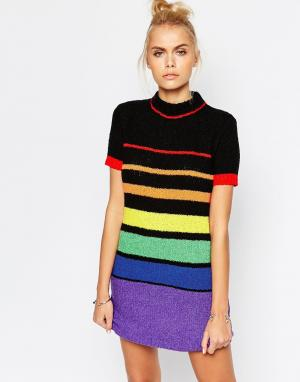 UNIF Трикотажное платье с радужным рисунком Chroma. Цвет: мульти