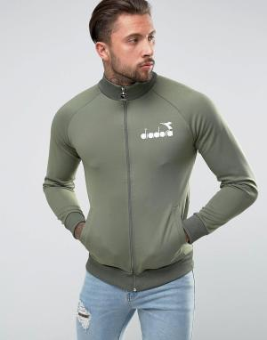Diadora Спортивная куртка с маленьким логотипом. Цвет: зеленый