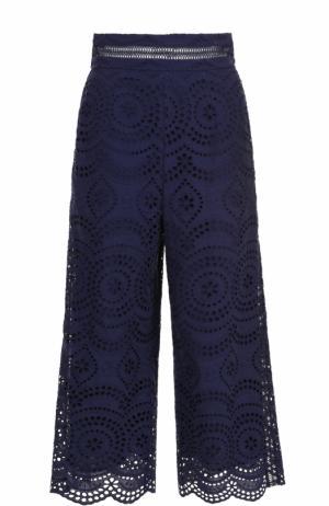 Укороченные кружевные брюки Zimmermann. Цвет: синий