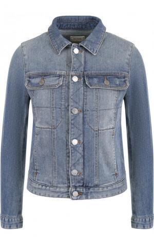 Укороченная джинсовая куртка с потертостями Zadig&Voltaire. Цвет: голубой