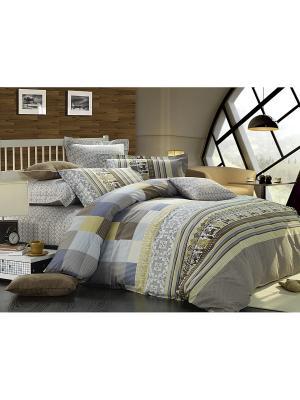 Комплект постельного белья 1,5 сп. сатин, рисунок 585 LA NOCHE DEL AMOR. Цвет: серый, коричневый