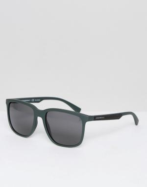 Emporio Armani Солнцезащитные очки в квадратной оправе. Цвет: зеленый