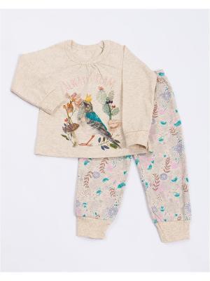 Пижама: лонгслив, брюки Mark Formelle. Цвет: бежевый, молочный, желтый