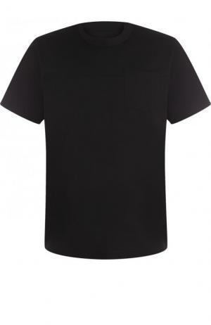 Хлопковая футболка с круглым вырезом Sacai. Цвет: черный