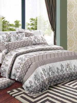 Комплект постельного белья, сатин, евро, пододеяльник на молнии Letto. Цвет: серый, бежевый
