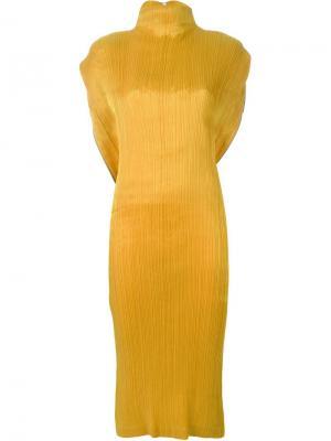 Плиссированное платье Issey Miyake Vintage. Цвет: жёлтый и оранжевый