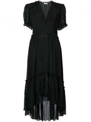 Асимметричное платье с V-образным вырезом Ulla Johnson. Цвет: чёрный
