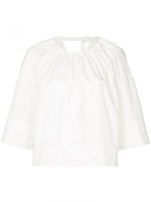 Блузка с воротником со сборкой Astraet. Цвет: белый