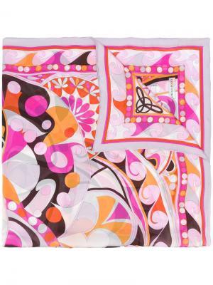 Шарф с цветочным принтом Emilio Pucci. Цвет: розовый и фиолетовый