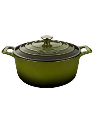 Кастрюля LA CUISINE чугун 20см 2л зеленая 4150MB. Цвет: зеленый
