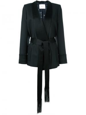 Жакет с лацканами-шалька и поясом Racil. Цвет: чёрный