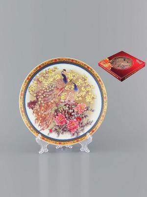 Тарелка декоративная Павлин Elan Gallery. Цвет: желтый, белый, синий, коричневый, розовый