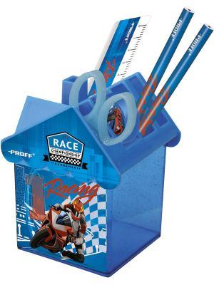 Набор 6 предметов (точилка, 2 карандаша HB, ножницы, линейка 15 см, подставка) PROFF. Цвет: голубой