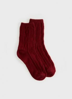 Носки из жаккарда с шерстью OSTIN. Цвет: бордовый