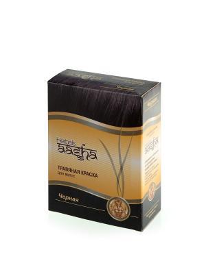 Краска для волос травяная Черная, 60 г Aasha Herbals. Цвет: черный