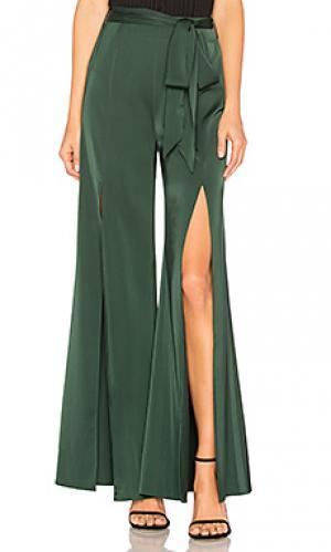 Широкие брюки с завязывающимся поясом claude LAcademie L'Academie. Цвет: зеленый