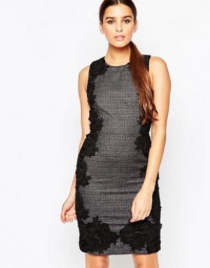 Adelyn Rae Твидовое платье‑футляр с кружевными накладками. Цвет: мульти