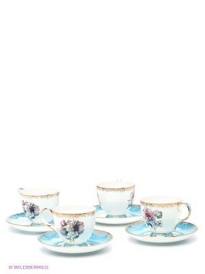 Чайный набор на 4 перс. Цветок Неаполя Pavone. Цвет: белый, голубой, золотистый