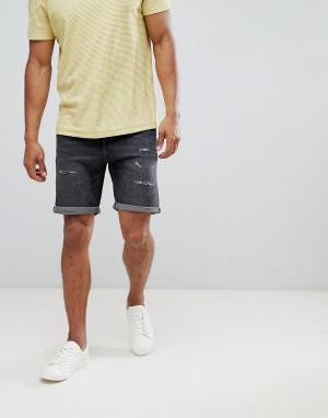 Selected Homme Состаренные джинсовые шорты. Цвет: серый