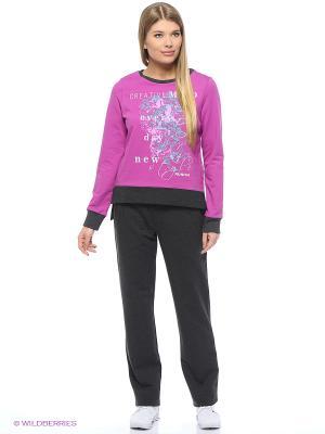 Спортивный костюм Олимпия Runika. Цвет: антрацитовый, розовый