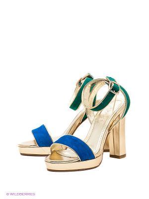 Босоножки APART. Цвет: зеленый, золотистый, синий