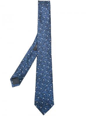 Галстук с вышивкой в горох Z Zegna. Цвет: синий
