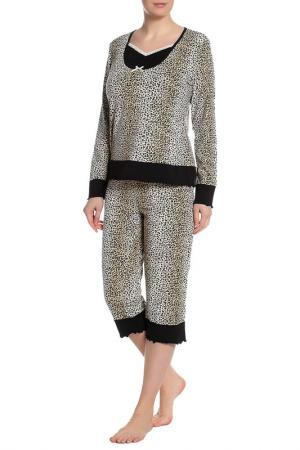 Пижама: брюки и блуза Del Fiore. Цвет: черный, белый