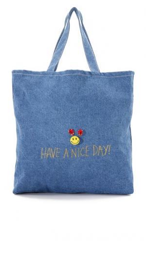 Объемная сумка с короткими ручками и надписью «Have a Nice Day» Zhuu