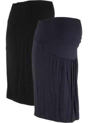 Мода для беременных: трикотажная юбка (2 шт.) (черный + темно-синий) bonprix. Цвет: черный + темно-синий