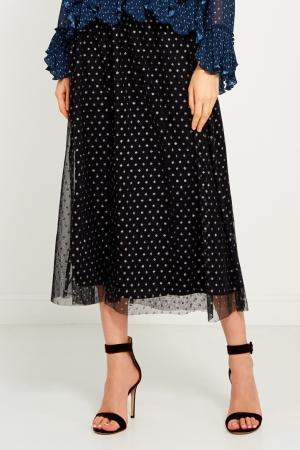 Черная юбка из сетки в горох Girls In Bloom. Цвет: черный