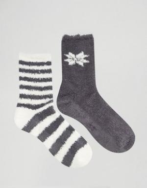 Totes Носки с полосками и снежинками. Цвет: черный