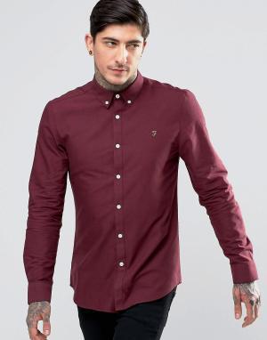 Farah Бордовая оксфордская рубашка слим Brewer. Цвет: красный